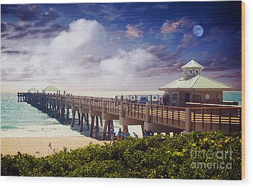 Juno Beach Pier Treasure Coast Florida Seascape Dawn C5a Wood Print by Ricardos Creations