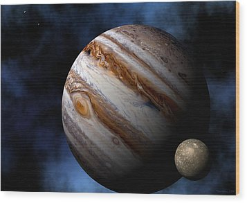 Wood Print featuring the digital art Jupiter by David Robinson