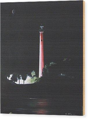 Jupiter Lighthouse At Night Wood Print