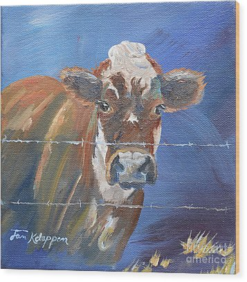 Wood Print featuring the painting Just A Big Happy Cow On A Little Square Canvas by Jan Dappen