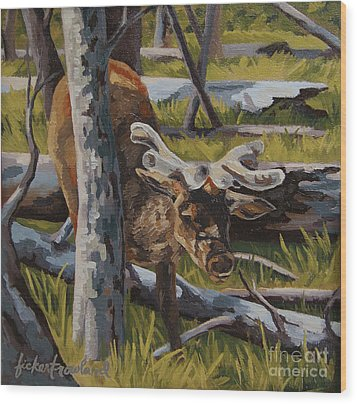 Wood Print featuring the painting Just A Peek by Erin Fickert-Rowland