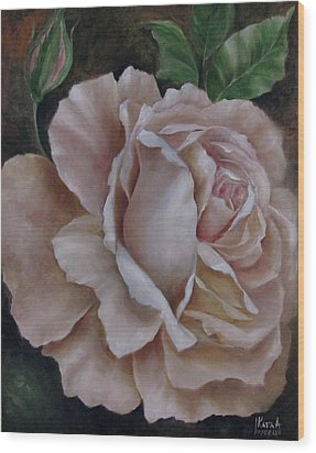 Just A Rose Wood Print by Katia Aho