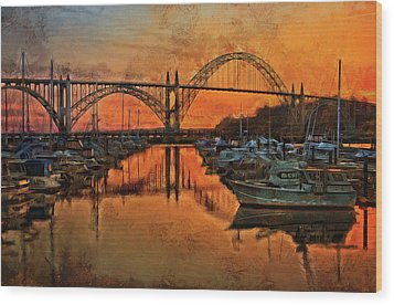 Just After Sunset On Yaquina Bay Wood Print