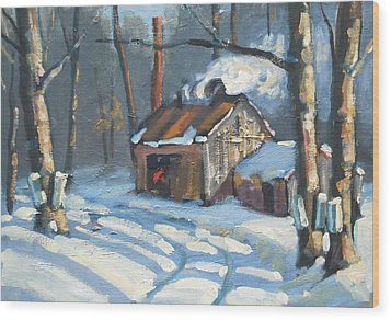 Just Around The Corner Wood Print by Len Stomski