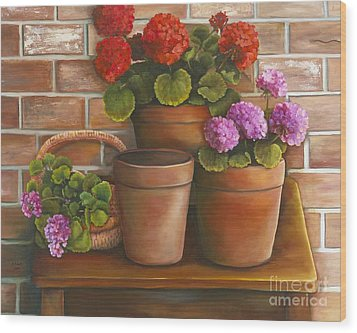 Just Geraniums Wood Print by Marlene Book