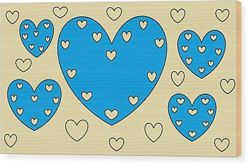 Just Hearts 4 Wood Print by Linda Velasquez