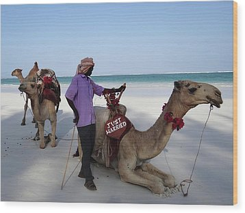 Just Married Camels Kenya Beach 2 Wood Print