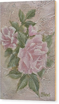 Wood Print featuring the painting Just Roses by Chris Hobel
