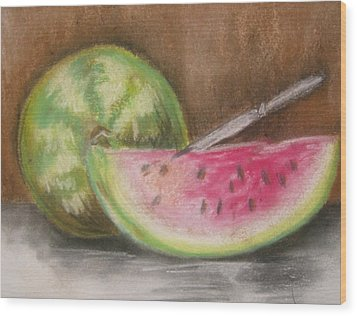 Wood Print featuring the drawing Just Watermelon by Leslie Manley