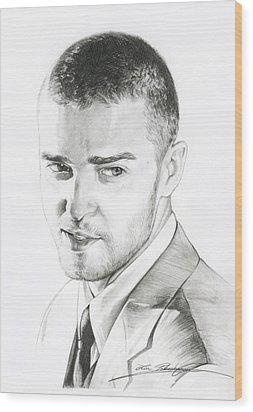 Justin Timberlake Drawing Wood Print by Lin Petershagen