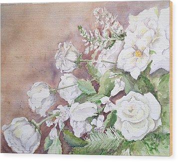 Justin's Flowers Wood Print by Marilyn Zalatan