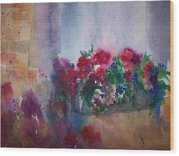Jutta's Windowbox Wood Print by Sandy Collier