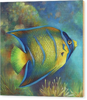 Juvenile Queen Angel Fish Wood Print