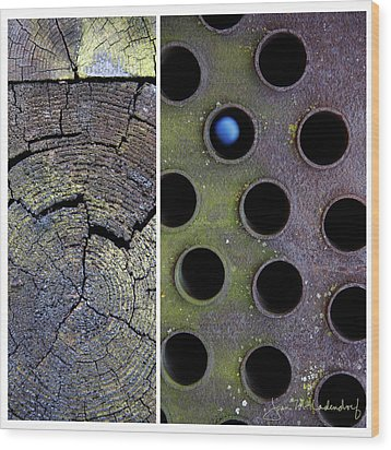 Juxtae #58 Wood Print by Joan Ladendorf