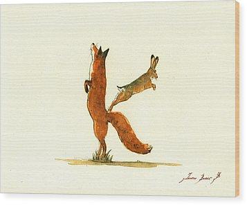 K Letter Woodland Alphabet Wood Print by Juan  Bosco