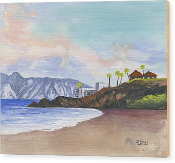 Wood Print featuring the painting Kaanapali Beach by Darice Machel McGuire