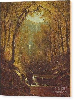 Kaaterskill Falls Wood Print by Sanford Robinson Gifford
