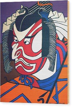 Kabuki Actor Wood Print by Stephanie Moore