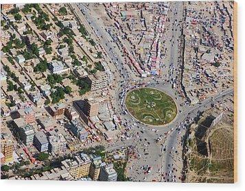 Kabul Traffic Circle Aerial Photo Wood Print