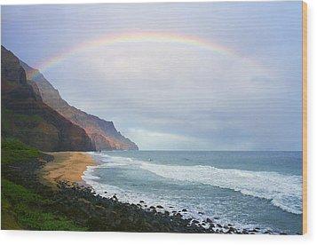 Kalalau Beach Rainbow Wood Print by Kevin Smith