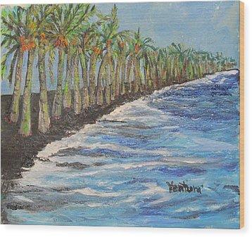 Kalapana Beach Wood Print
