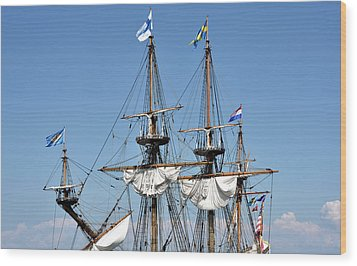 Wood Print featuring the photograph Kalmar Nyckel - Docked In Lewes Delaware by Brendan Reals