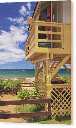 Wood Print featuring the photograph Kamaole Beach Lifeguard Tower by James Eddy