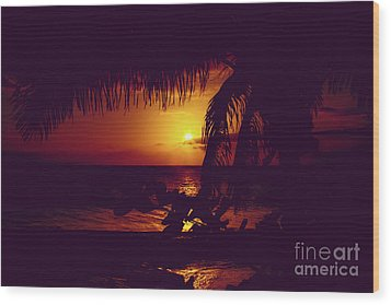 Wood Print featuring the photograph Kamaole Tropical Nights Sunset Gold Purple Palm by Sharon Mau