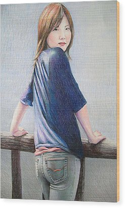 Kanae In Jeans Wood Print by Tim Ernst