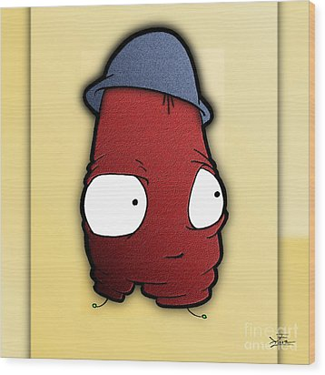 Wood Print featuring the digital art Kangol Kool by Uncle J's Monsters