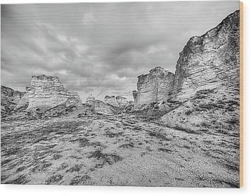 Wood Print featuring the photograph Kansas Badlands Black And White by JC Findley