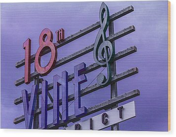 Kansas City 18th And Vine Sign Wood Print