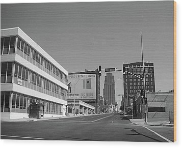 Wood Print featuring the photograph Kansas City - 18th Street Bw by Frank Romeo