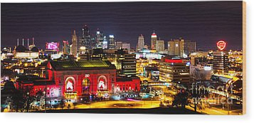 Kansas City Celebrates The Chiefs Wood Print by Jean Hutchison