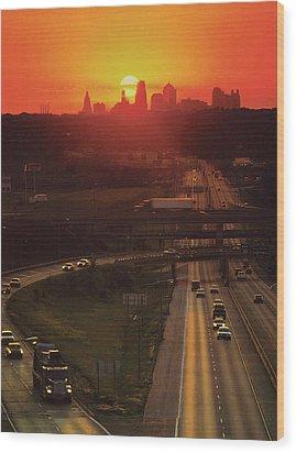 Kansas City I 70 Sunset Wood Print by Don Wolf