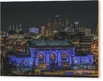 Kansas City In Royal Blue Wood Print