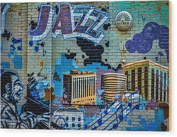 Kansas City Jazz Mural Wood Print