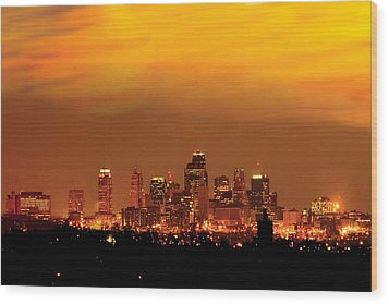Kansas City Missouri Skyline Wood Print by Don Wolf