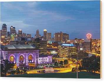Kansas City Night Sky Wood Print