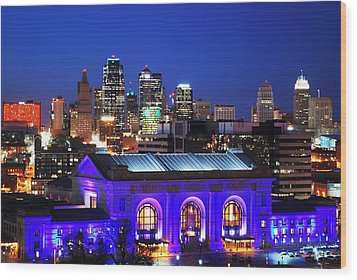Kansas City Skyline At Night Wood Print
