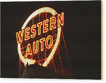 Kansas City Western Auto Wood Print