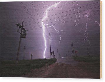 Kansas Lightning Wood Print by Ryan Crouse