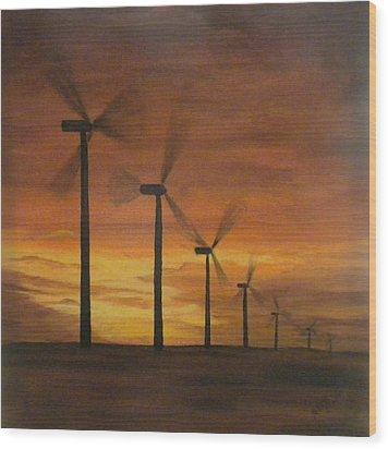 Kansas Wind Farm Wood Print