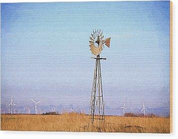 Wood Print featuring the digital art Kansas Windmills by JC Findley