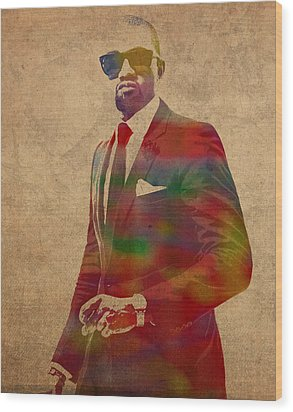 Kanye West Watercolor Portrait Wood Print by Design Turnpike