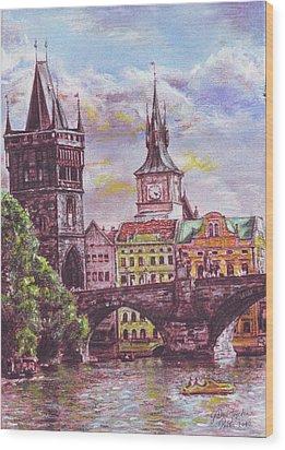 Karluv Most A Novotneho Lavka  Wood Print by Gordana Dokic Segedin