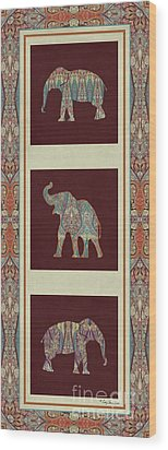 Kashmir Elephants - Vintage Style Patterned Tribal Boho Chic Art Wood Print by Audrey Jeanne Roberts