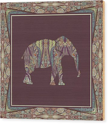 Wood Print featuring the painting Kashmir Patterned Elephant 2 - Boho Tribal Home Decor  by Audrey Jeanne Roberts