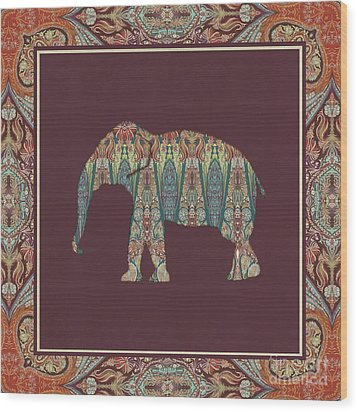 Wood Print featuring the painting Kashmir Patterned Elephant - Boho Tribal Home Decor  by Audrey Jeanne Roberts