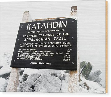 Katahdin - Baxter Peak Wood Print by Doug McPherson